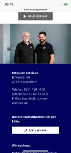Screenshot Website iPhone Totzauer aus Düsseldorf